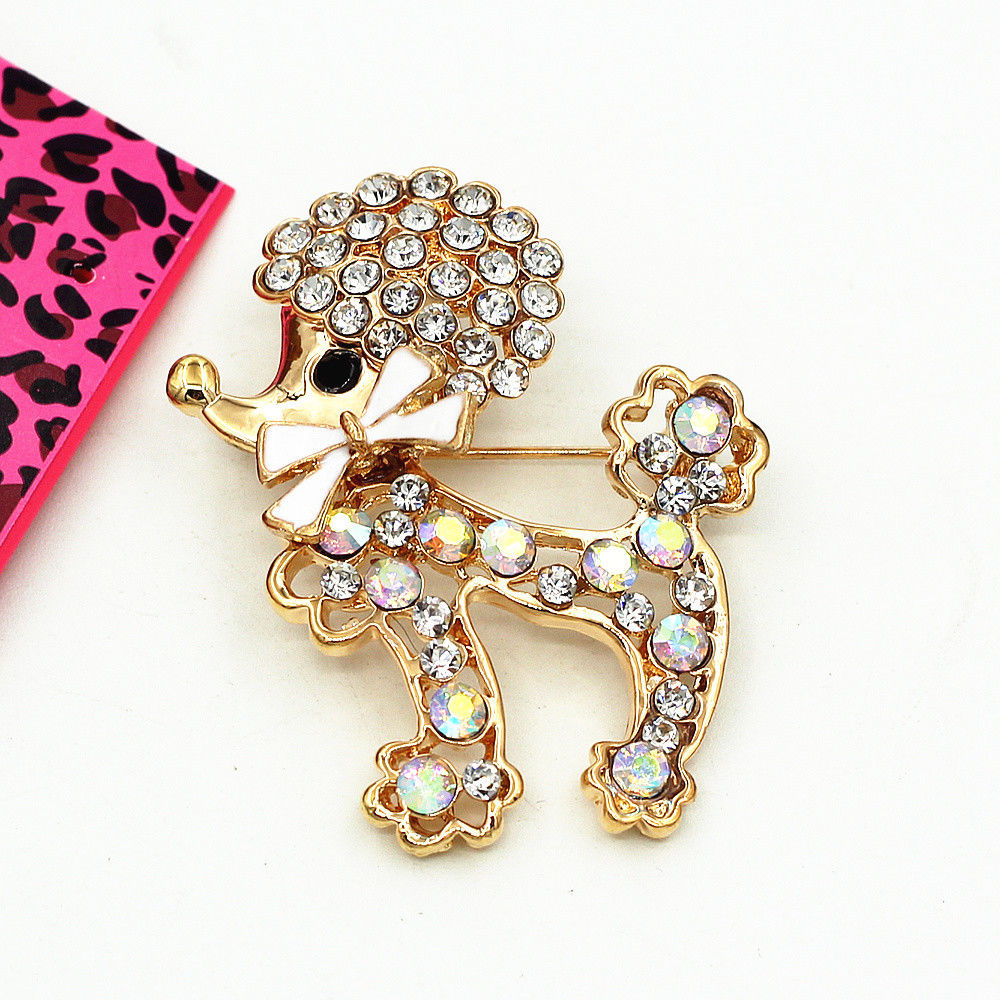 Betsey Johnson Poodle With Bow Puppy Dog Crystal Brooch Pin