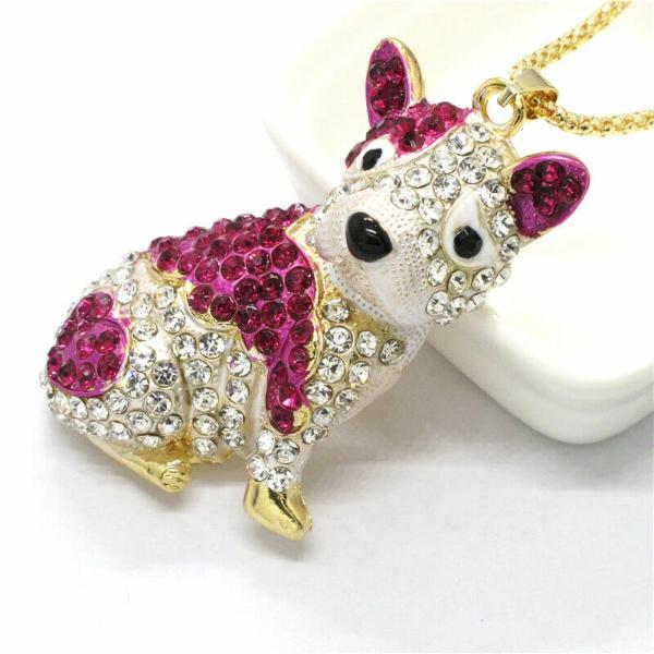 Betsey Johnson Bulldog Pink & White Crystal Pendant Necklace