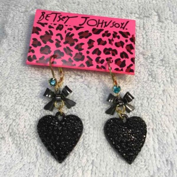 Betsey Johnson Cute Black Heart, Gold Bow & Blue Rhinestone Earrings