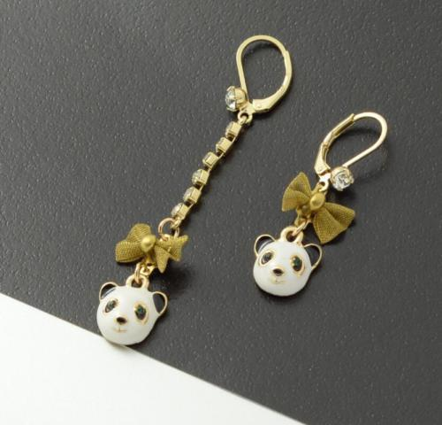 Betsey Johnson Cute Panda Bear Enamel Rhinestone Mismatch Earrings