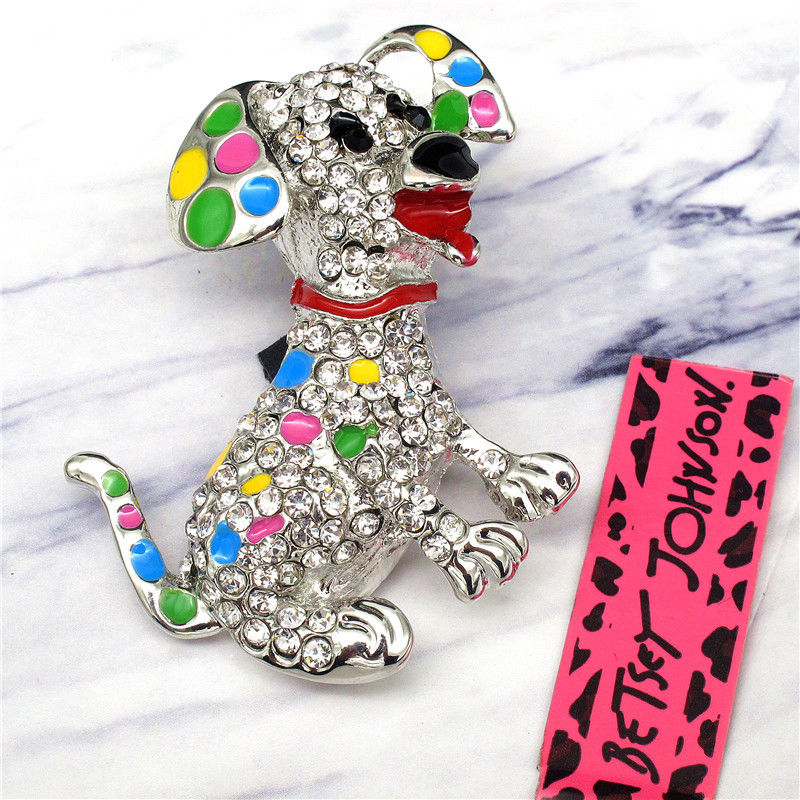 Betsey Johnson Dalmatian Dog Multi-Color Enamel Crystal Silver Brooch Pin