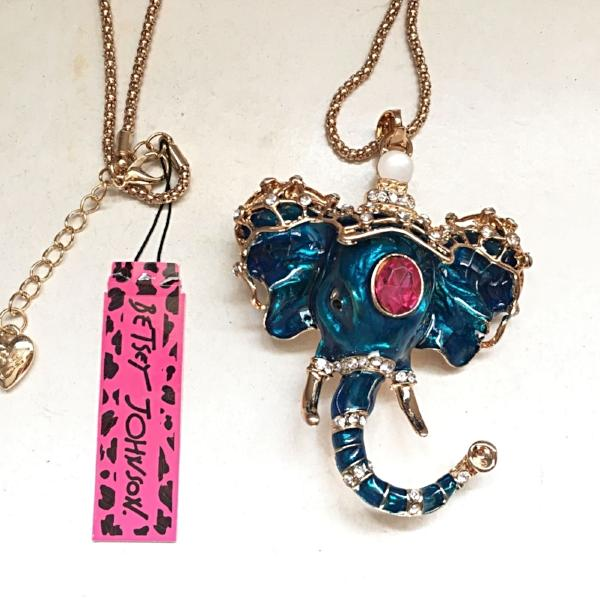 Betsey Johnson Blue Elephant With Red Crystal Inlay Gold Necklace