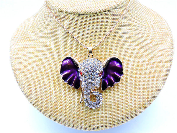 Betsey Johnson Elephant Purple Ears Rhinestone Gold Chain Necklace
