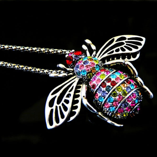 Betsey Johnson Bee Multi Color Crystals Brooch Necklace