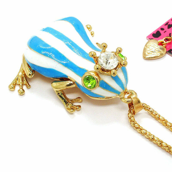 Betsey Johnson Frog Blue & White Enamel Crown Pendant Necklace