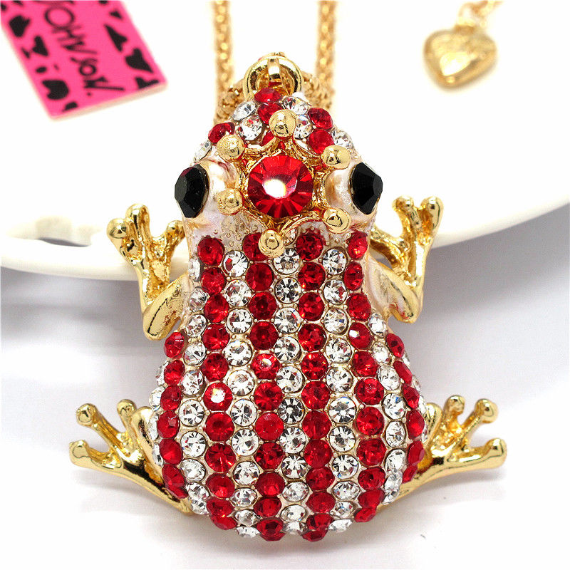 Betsey Johnson Frog Red & Clear Crystal Crowned Striped Necklace