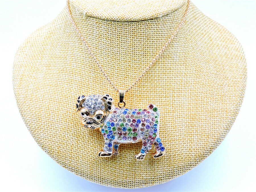 Betsey Johnson Bulldog Mult-Color Crystal Pendant Necklace