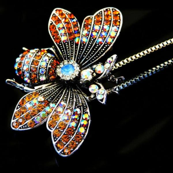 Betsey Johnson Bee Orange Rhinestone Pendant Necklace