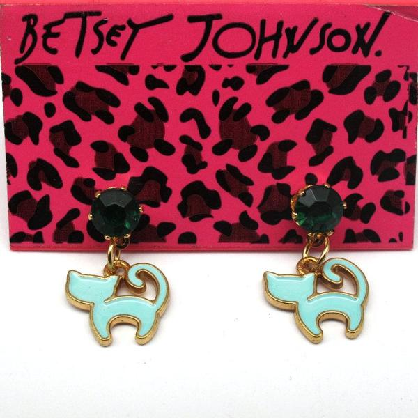 Betsey Johnson Blue Enamel Kitten Cat Green Rhinestone Earrings