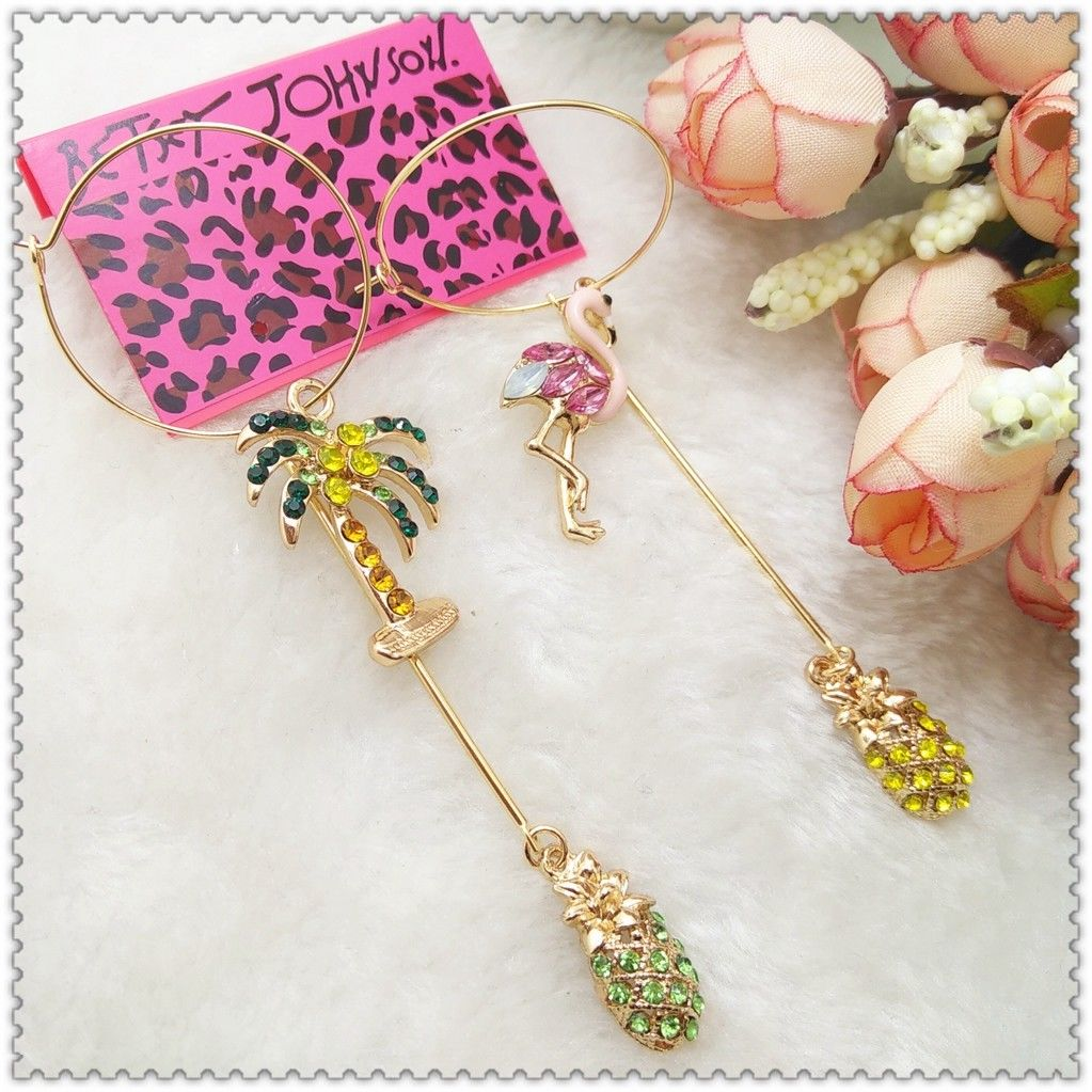 Betsey Johnson Flamingo Pineapple Palm Tree Long Earrings