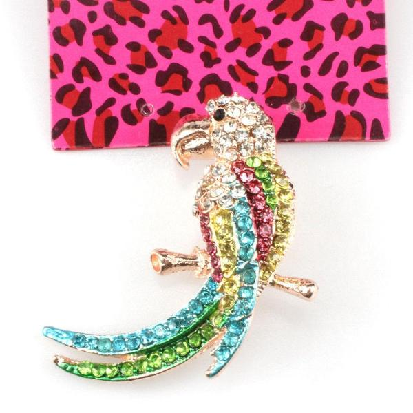 Betsey Johnson Multi-Color Parrot Colorful Crystal Enamel Brooch Pin