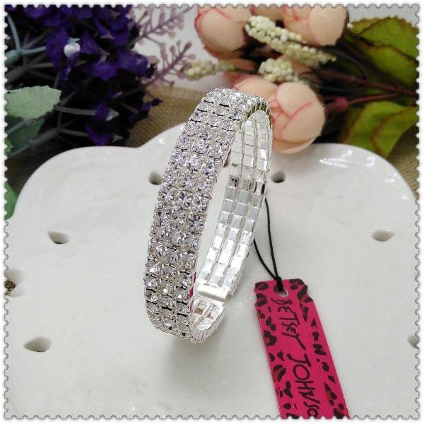 Betsey Johnson 3 Row Crystal Rhinestone Sparkly Flexible Silver Bracelet
