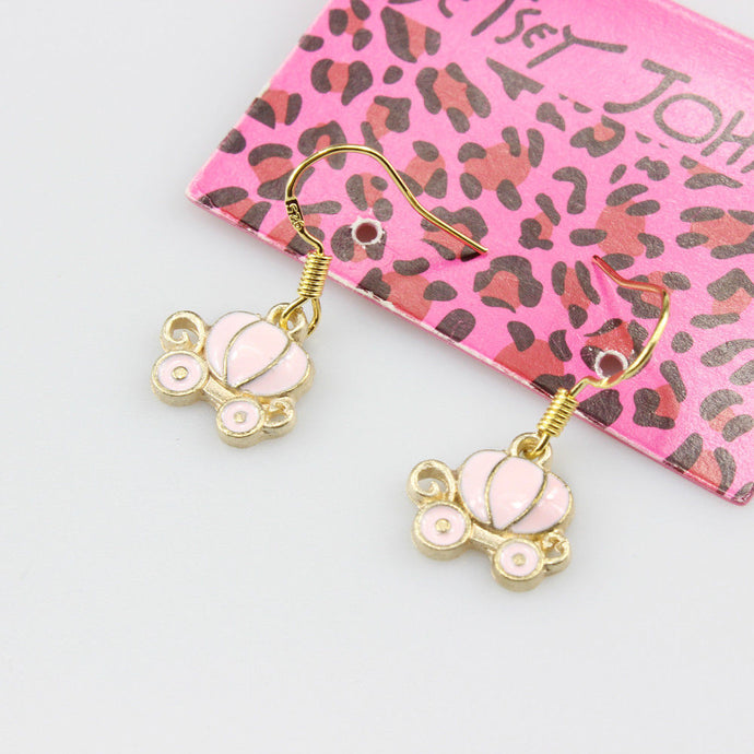 Betsey Johnson Fashion Pink Enamel Carriage Dangle Earrings