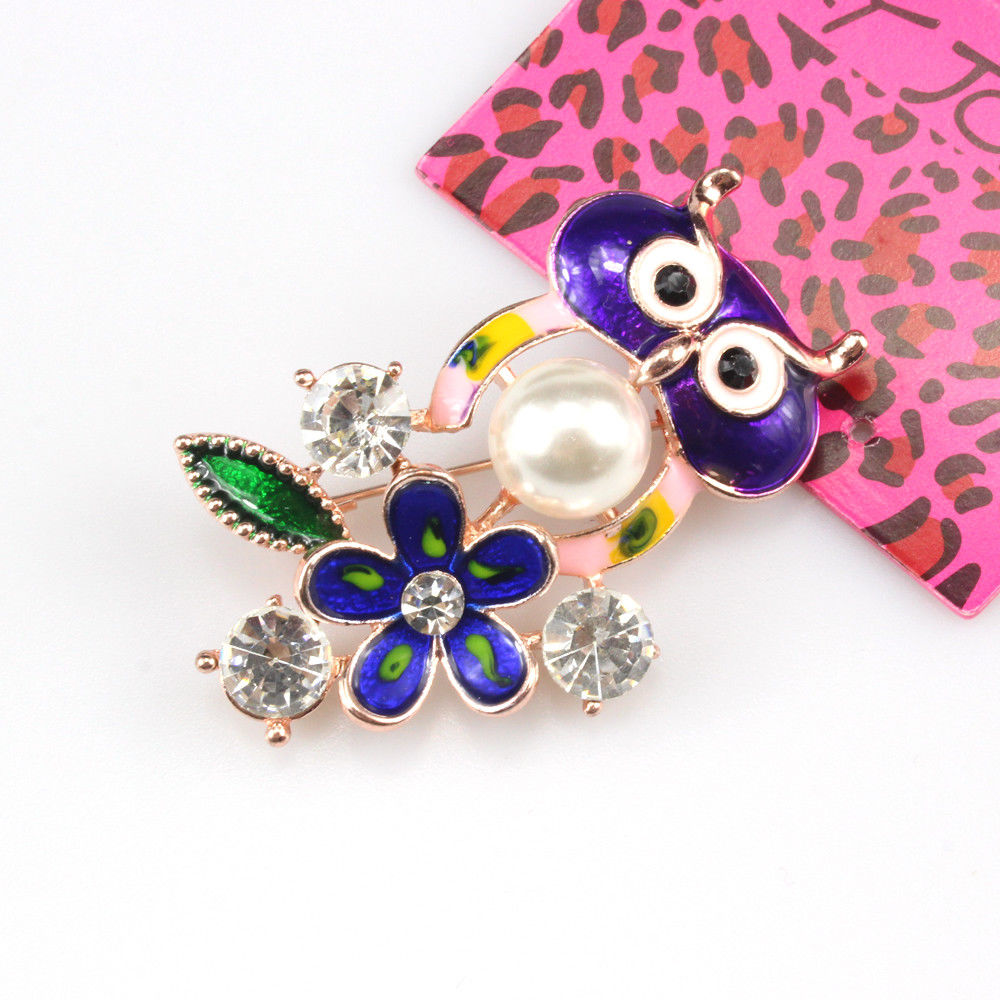 Betsey Johnson Multi-Color Owl Enamel Rhinestone Flower Gold Brooch Pin
