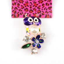 Betsey Johnson Owl Multi-Color Enamel Rhinestone Flower Gold Brooch Pin