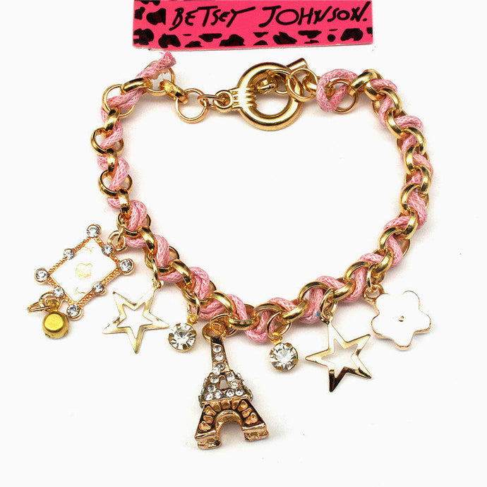 Betsey Johnson Pink & Gold Paris Tower Heart Flower Charm Rhinestone Bracelet