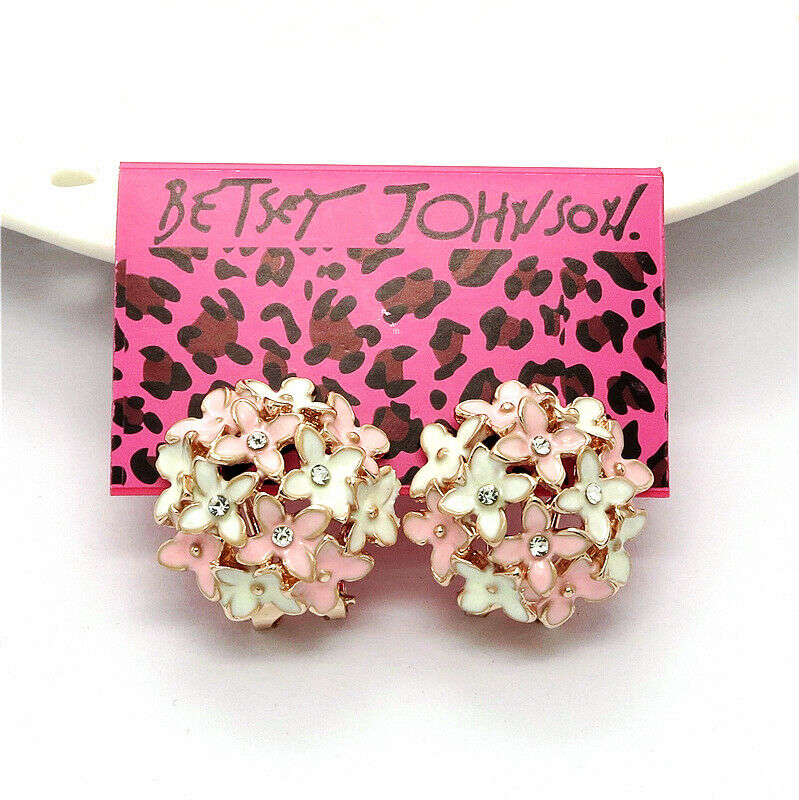 Betsey Johnson Flower Bouquet Pink White Crystal Lever Back Earrings