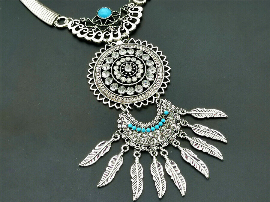 Betsey Johnson Faux Turquoise Rhinestone Silver Necklace