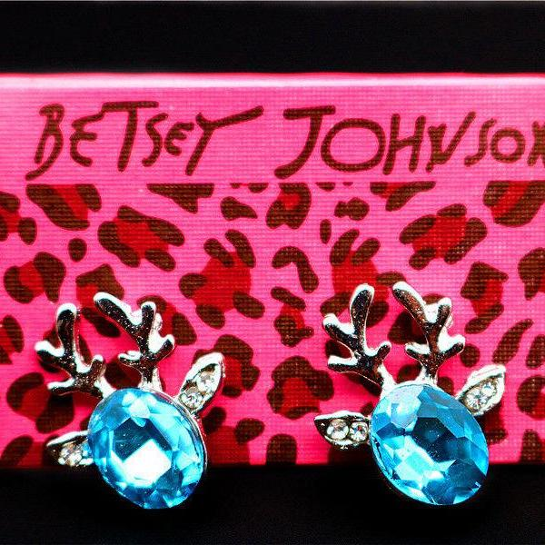 Betsey Johnson Blue Crystal Reindeer Deer With Antlers Gold Earrings