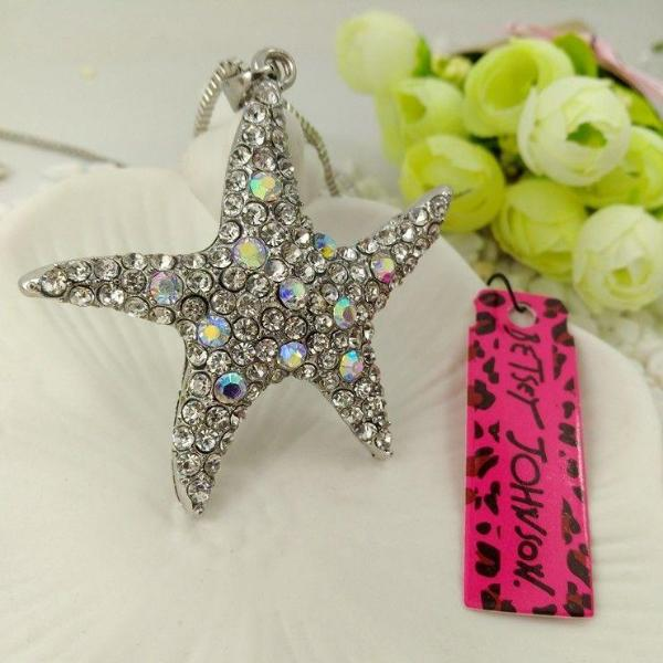 Betsey Johnson Crystal Starfish Pendant Silver Necklace
