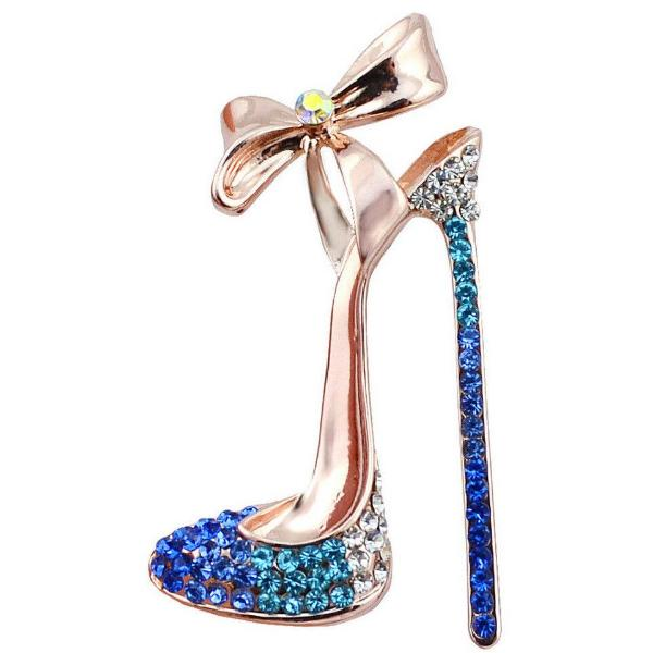 Betsey Johnson Fashion Blue Crystal High Heels with Bow Brooch Pin