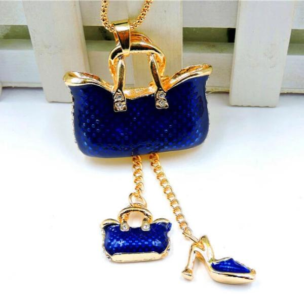 Betsey Johnson Blue Purse Shoe Pendant Necklace