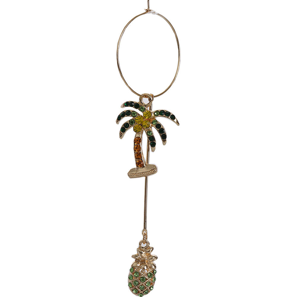 Betsey Johnson Blue Flamingo Pineapple Palm Tree Long Earrings