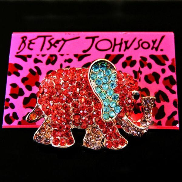 Betsey Johnson Elephant Blue, Pink & Red Crystal Animal Brooch Pin