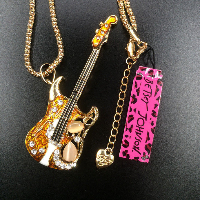 Betsey Johnson Golden Brown Enamel Guitar Rhinestone Gold Necklace