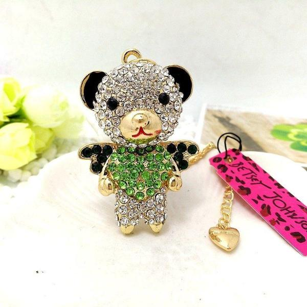 Betsey Johnson Bear Crystal Inlay Green Heart & Black Rhinestone Necklace
