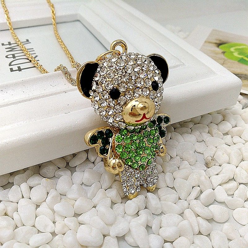 Betsey Johnson Bear Crystal Inlay Green Heart Movable Rhinestone Necklace