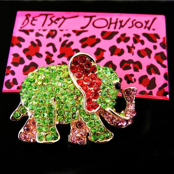 Betsey Johnson Elephant Green Pink Red Crystal  Animal Brooch Pin