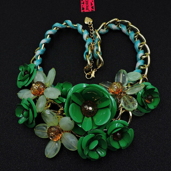 Betsey Johnson Large Green Flower Gold Necklace