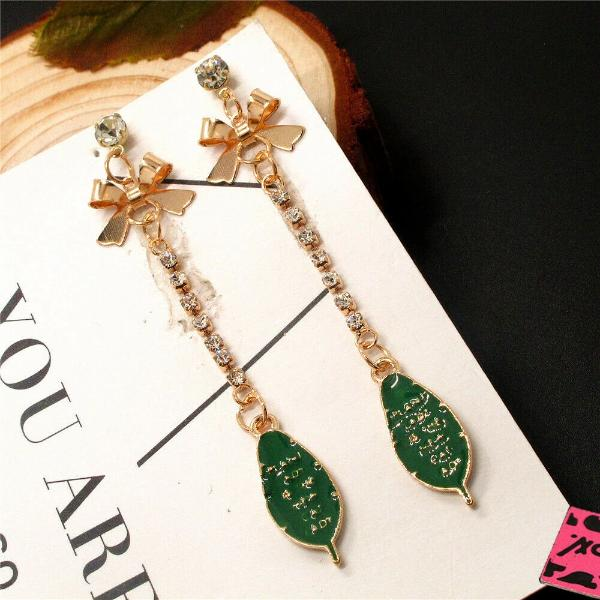 Betsey Johnson Green Leaf Enamel Earrings