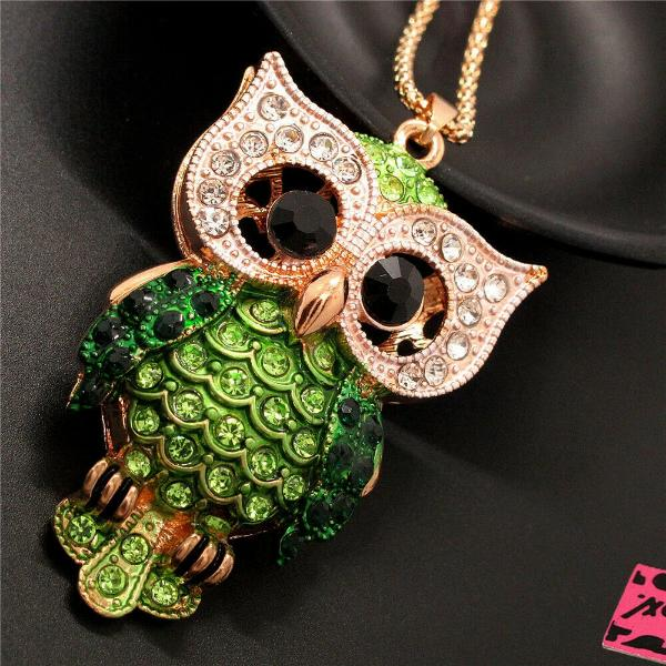 Betsey Johnson Owl Green Rhinestones Crystal Eyes Gold Necklace