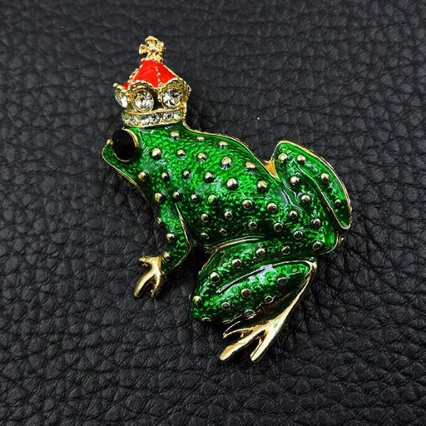 Betsey Johnson Frog Wearing Red Crown Rhinestone Crystal Brooch Pin