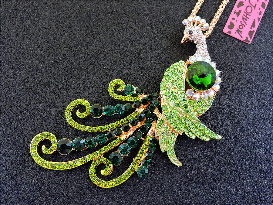 Betsey Johnson Green Crystals Peacock Pendant Necklace