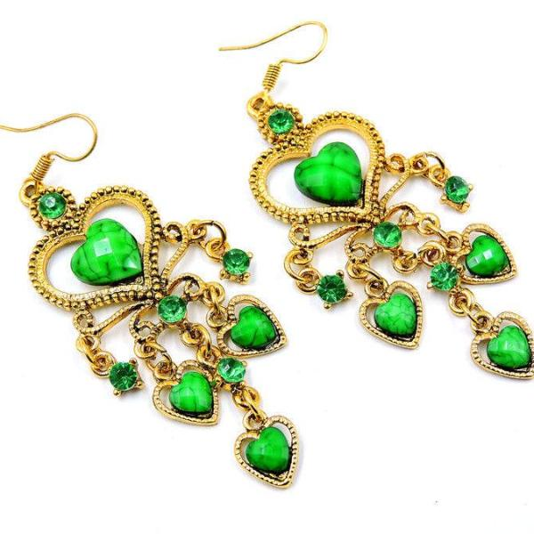 Betsey Johnson Green Stone Hearts & Crystal Chandelier Gold Earrings