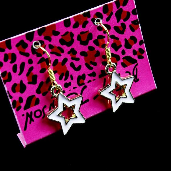 Betsey Johnson White Enamel Star Dangle Earring