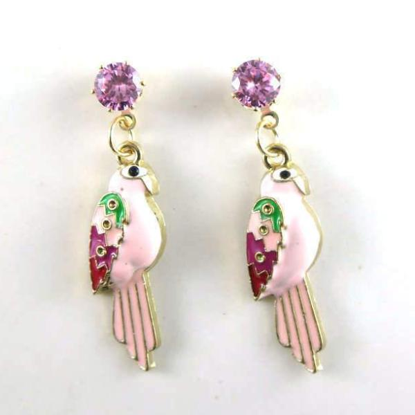 Betsey Johnson Pink Parrot Bird Rhinestone Earrings