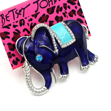 Betsey Johnson Royal Blue Teal Enamel Elephant Silver Brooch Pin