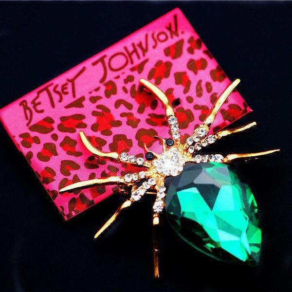 Betsey Johnson Green & White Spider Crystal Brooch Pin
