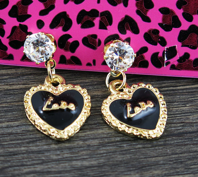 Betsey Johnson Black Enamel Heart