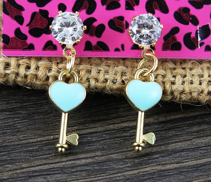 Betsey Johnson Blue Enamel Key Clear Rhinestone Gold Earrings