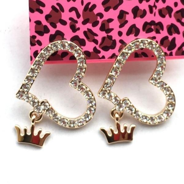 Betsey Johnson Heart & Dangle Crown Charm Rhinestone Gold Earrings