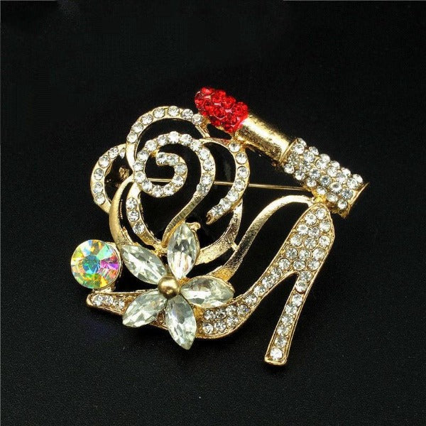 Betsey Johnson High Heel & Red Rhinestone Lipstick Brooch Pin
