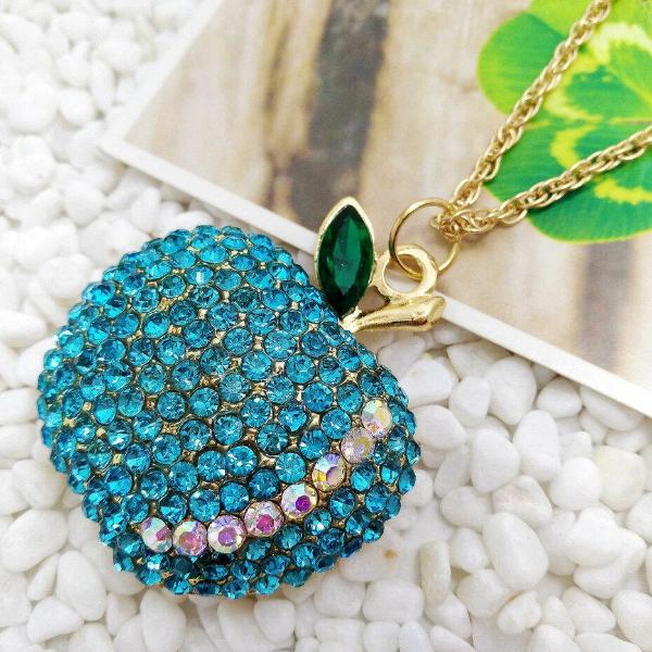 Betsey Johnson Apple Blue Rhinestone Gold Chain Pendant Necklace