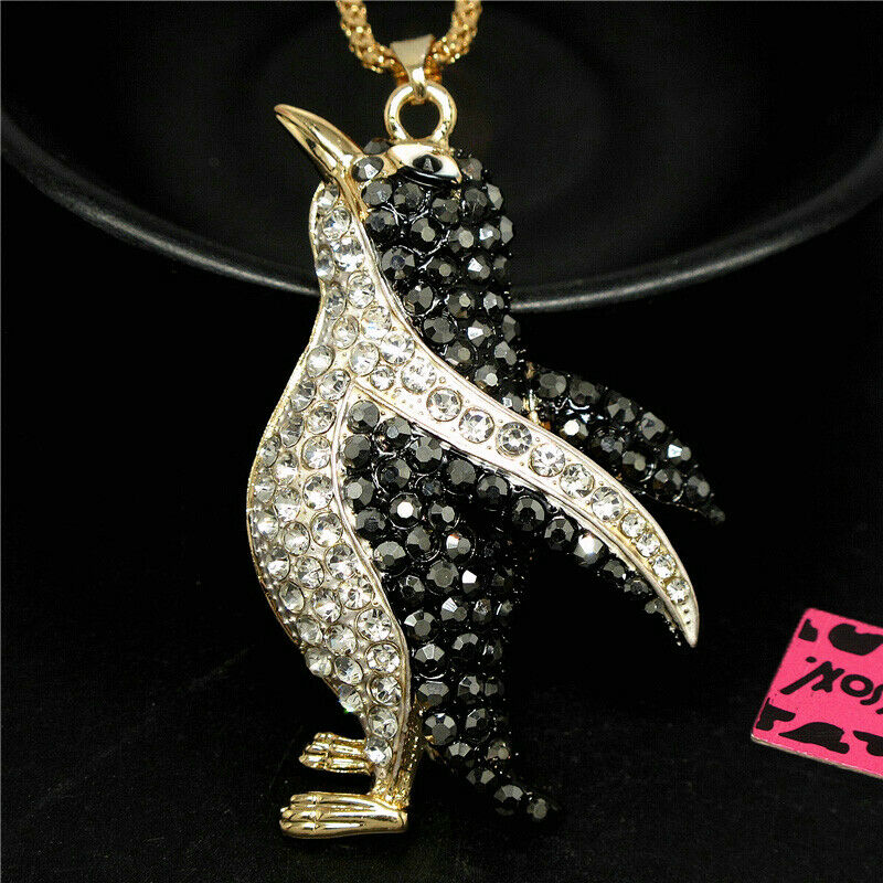 Betsey Johnson Penguin Crystal Pendant Necklace