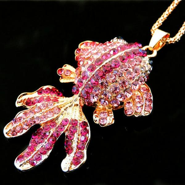Betsey Johnson Pink Crystal Fish Gold Necklace
