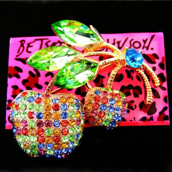 Betsey Johnson Brooch Multi-Color Cherry Fruit Rhinestone  Pin